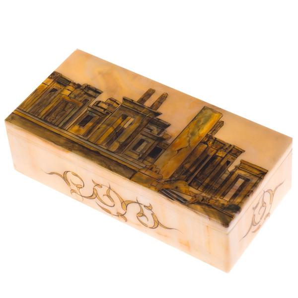 جعبه سنگ مرمر اثر بابایی طرح تخت جمشید سایز 20 × 10 سانتی متر