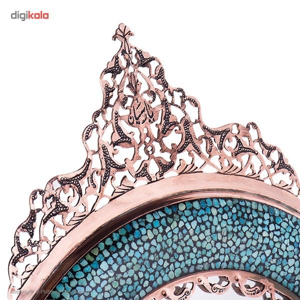 آینه فیروزه کوب اثر آقاجانی مدل دایرهای رومیزی ارتفاع 47 سانتی متر