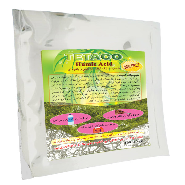 کود تتاکو مدل هیومیک اسید پودری بسته 100 گرمی