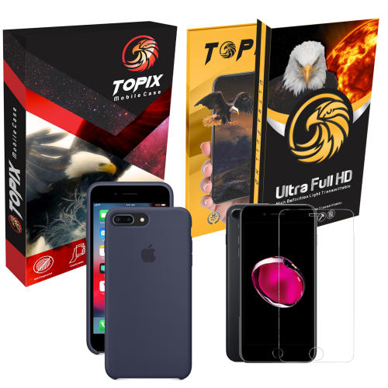 کاور سیلیکونی و محافظ صفحه نمایش تاپیکس مناسب برای گوشی موبایل اپل iphone 7plus / 8plus