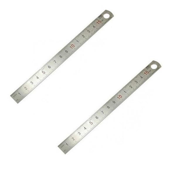 خط کش فلزی دلی کد 8461 سایز 15 سانتی متر بسته 2 عددی