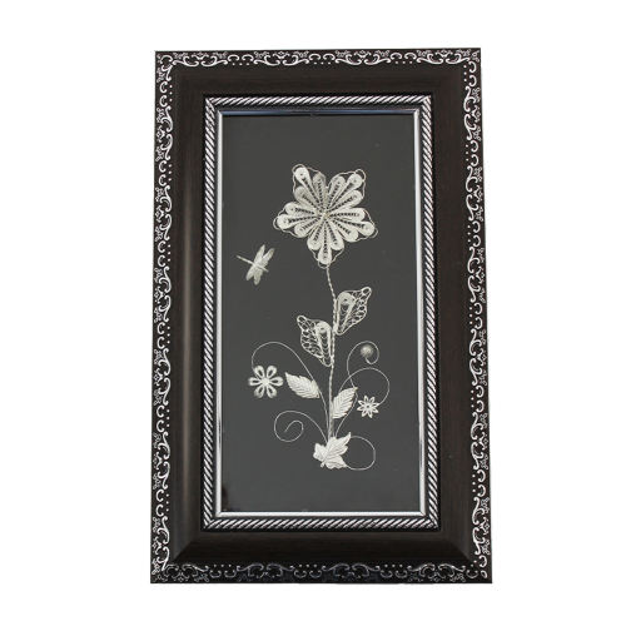 تابلو چوبی طرح گل و سنجاقک ملیله
