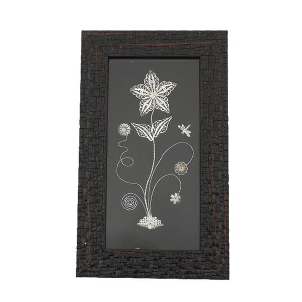 تابلو  قاب چوبی  طرح گل و سنجاقک ملیله