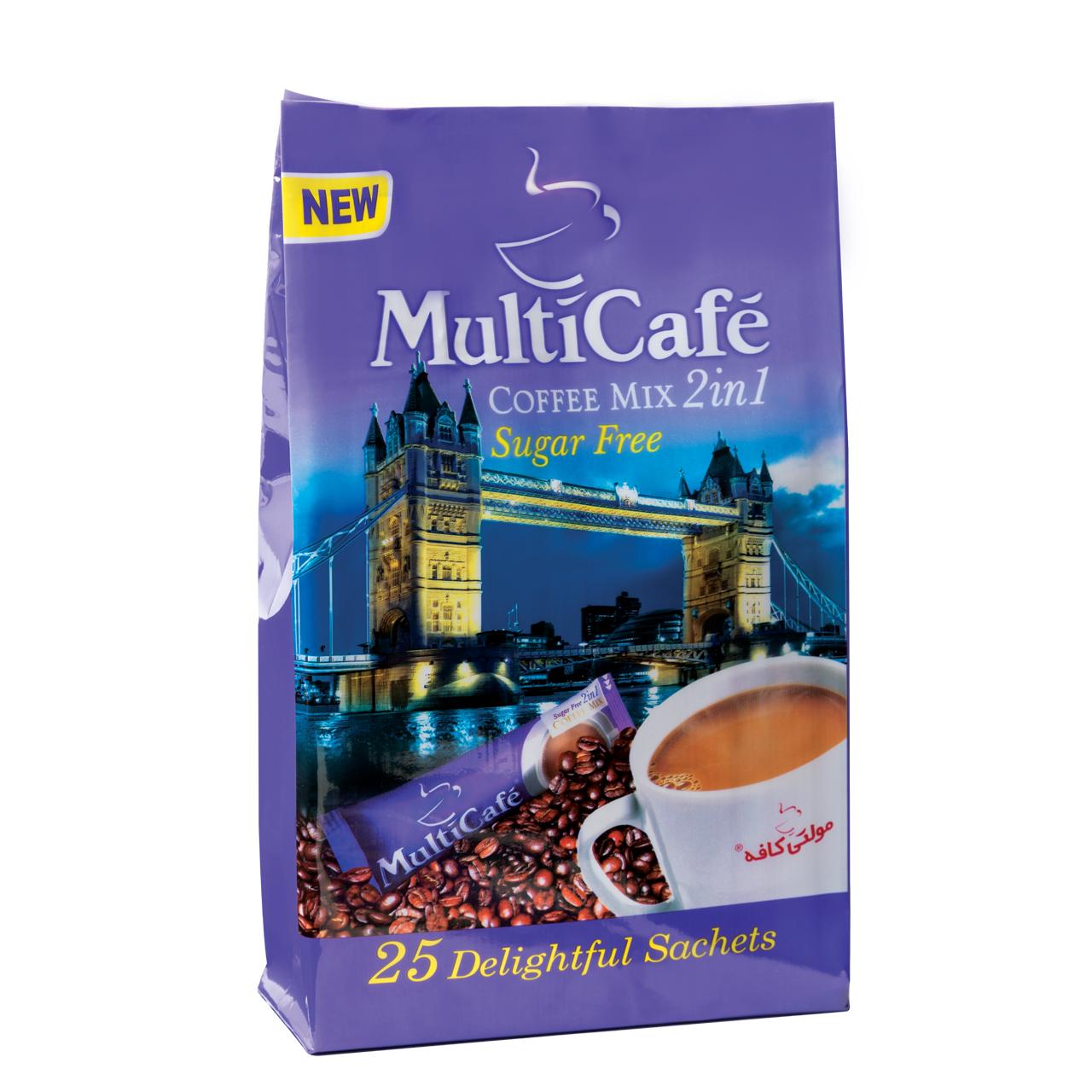 کافی میکس 2 در 1 بدون شکر مولتی کافه مقدار 350 گرم بسته 25 عددی