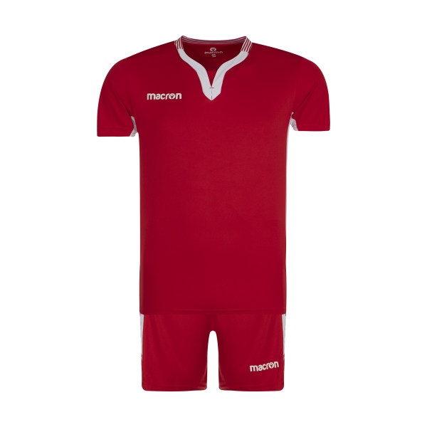 ست تی شرت و شلوارک ورزشی مردانه مکرون مدل کاناپوس رنگ قرمز