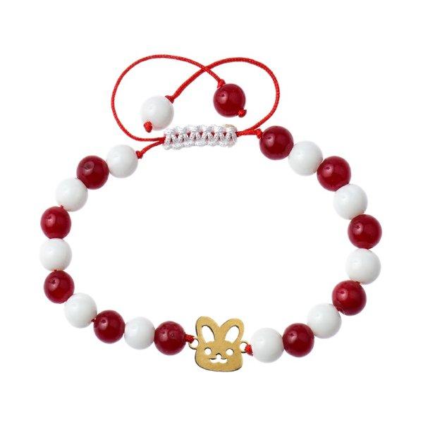 دستبند طلا 18 عیار دخترانه کرابو طرح خرگوش مدل Krd1018