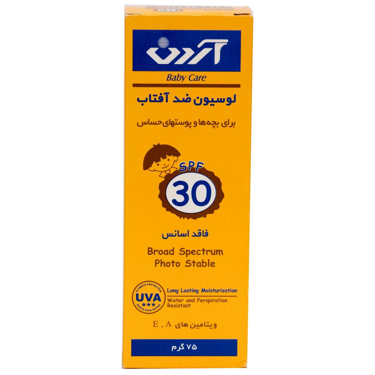 لوسیون ضدآفتاب کودکان و پوست های حساس آردن SPF30 حجم 75 گرم