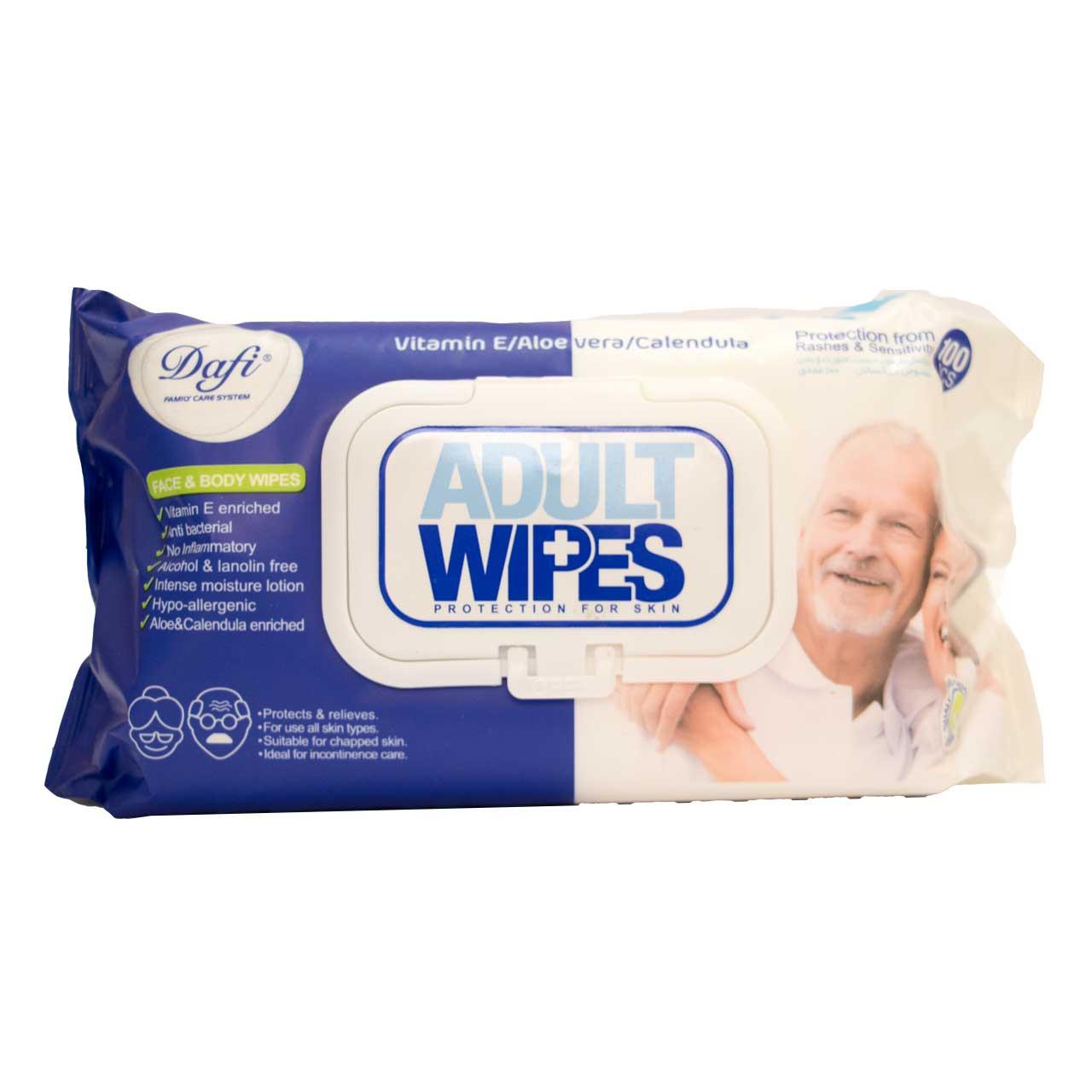 قیمت دستمال مرطوب دافی مدل Adult Wipes بسته 100 عددی