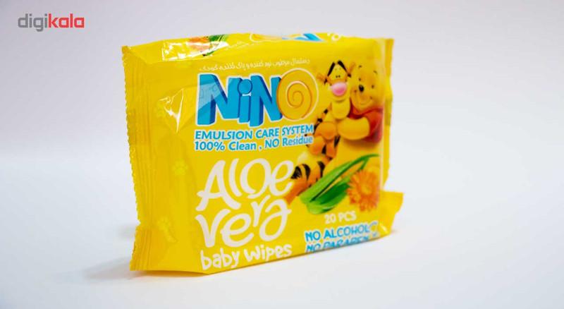 دستمال مرطوب کودک نینو مدل Aloevera بسته 20 عددی