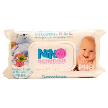 دستمال مرطوب کودک نینو مدل Sensitive بسته 70عددی