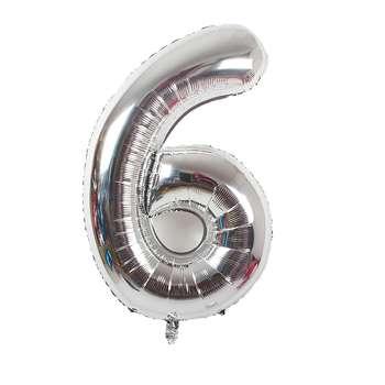 بادکنک فویلی عدد 6 هپی بری مدل silver