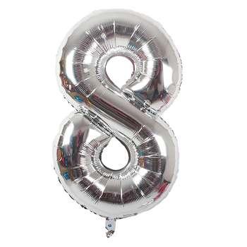 بادکنک فویلی عدد 8 هپی بری مدل silver