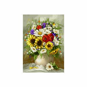 نخ و نقشه تابلو فرش طرح گلهای رنگا رنگ کد ۲۸۴