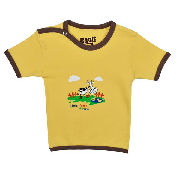 تی شرت آستین کوتاه نوزادی باولی مدل گاو