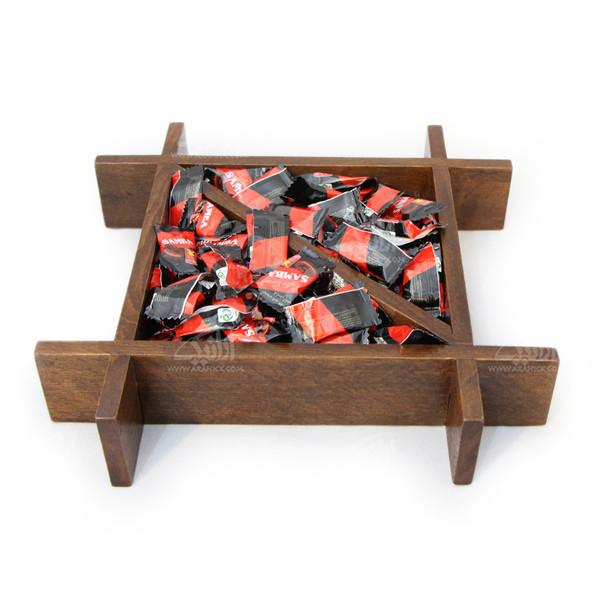 شکلات خوری چوبی ساده رنگ قهوه ای طرح دو تکه مدل 1001500009
