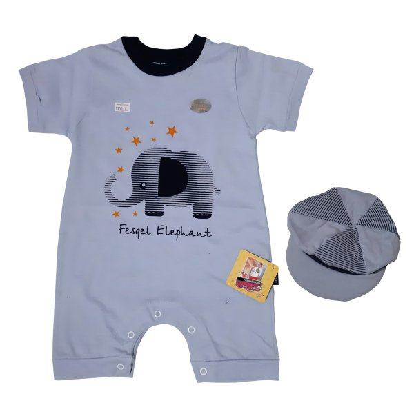 ست سرهمی و کلاه نوزادی پسرانه فسقلیمون طرح فیل کد 1155 رنگ آبی