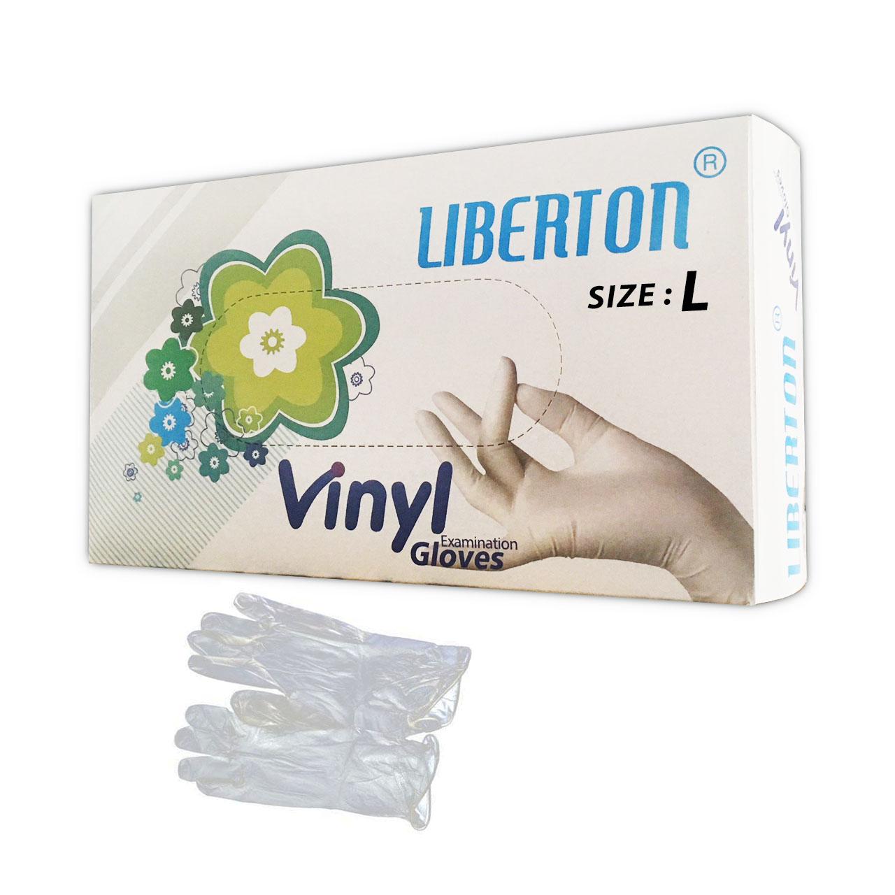 دستکش یکبار مصرف ونیل بدون پودر لیبرتون مدل بی رنگ سایز بزرگ بسته ۱۰۰ عددی