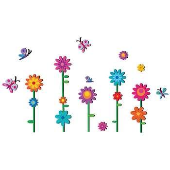 استیکر چوبي ژیوار طرح گلهای رنگارنگ باغ