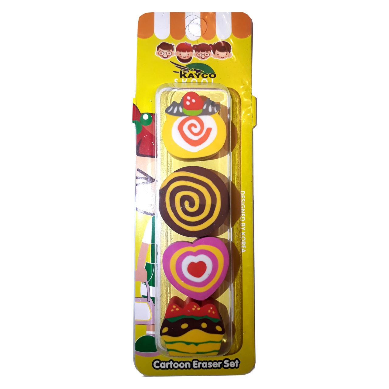 پاک کن کایکو مدل شیرینی بسته 4 عددی