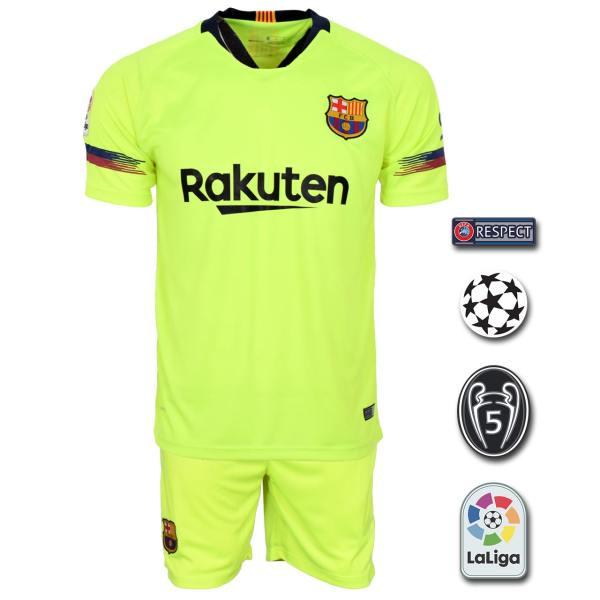 پیراهن و شورت ورزشی طرح مسی مدل بارسلونا Away18/19 به همراه تگ