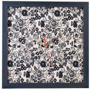 ساعت دیواری عقربه ای 30 × 30 طرح پارچه نقش 8 با قاب سیاه کد WEW 51 028