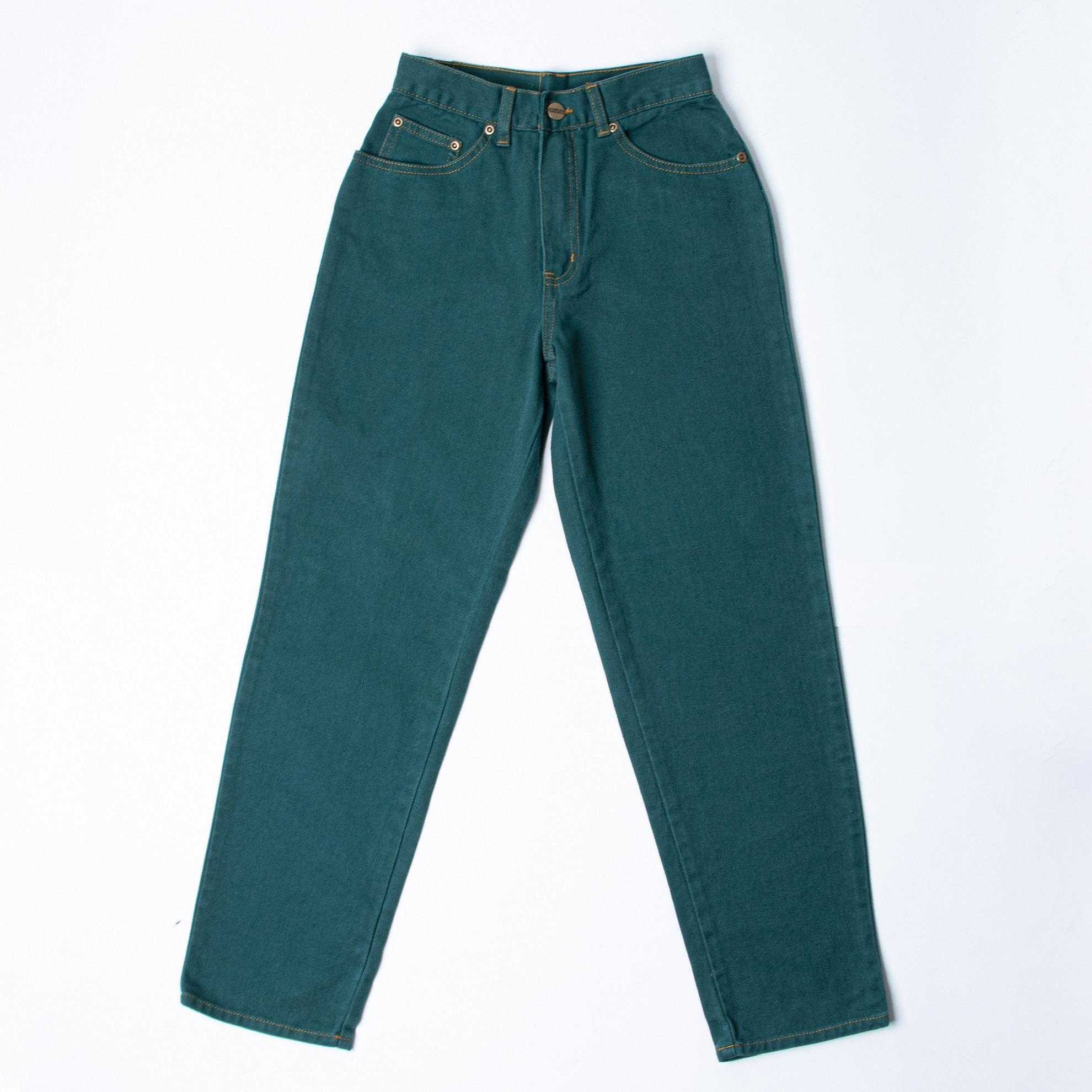 شلوار جین بچگانه مدل مام استایل رنگ سبز