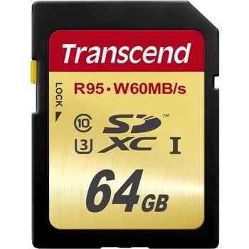 کارت حافظه SDXC ترنسند مدل Ultimate کلاس 10 استاندارد UHS-I U3 سرعت 95MBps 633X ظرفیت 64 گیگابایت