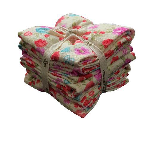 دستمال آشپزخانه نساجی بروجرد طرح شکوفه بسته 5 عددی
