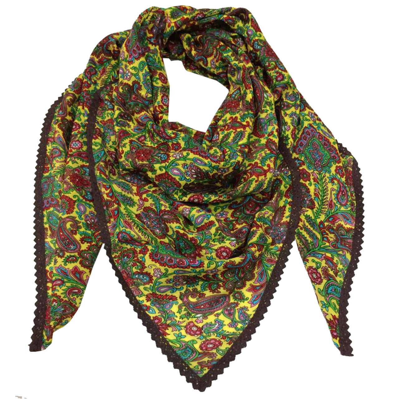 روسری نخی طرح گل دار کد 001