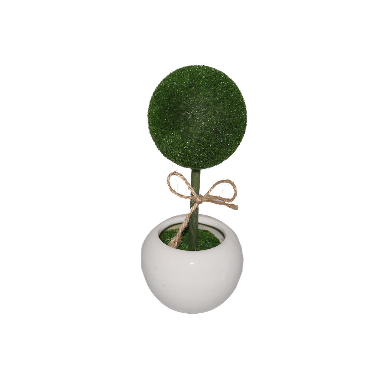 گلدان به همراه گل مصنوعی مدل توپی