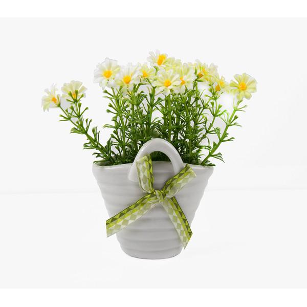 گلدان به همراه گل مصنوعی مدل سبددار