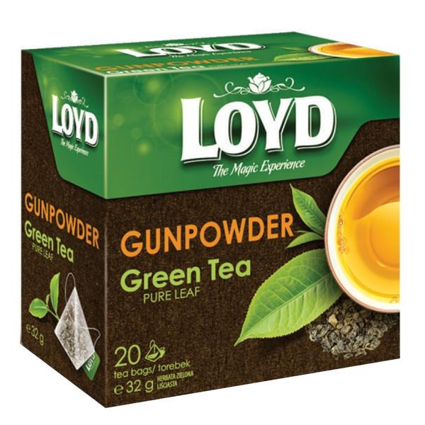 چای سبز لوید مدل باروتی مقدار 32 گرمی