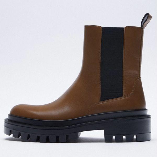 بوت زنانه زارا مدل Flat Leather Ankle