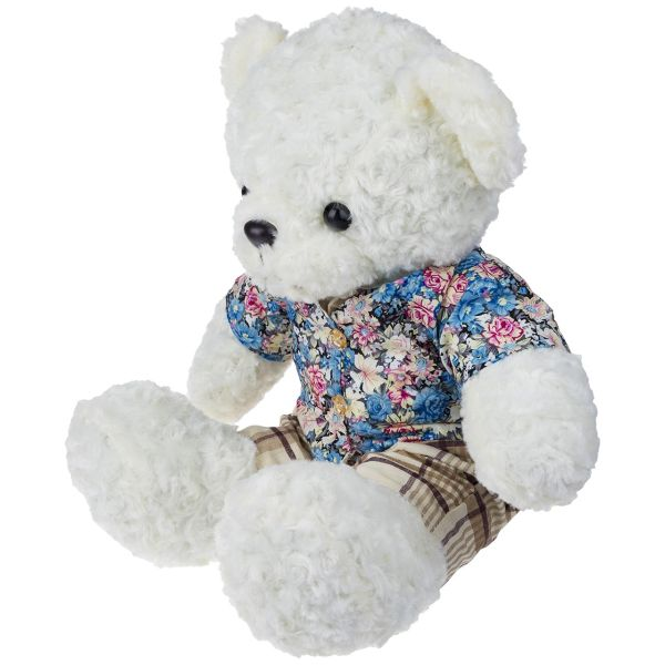 عروسک یاران مدل خرس پسر لباس گل گلی ارتفاع 60 سانتی متر
