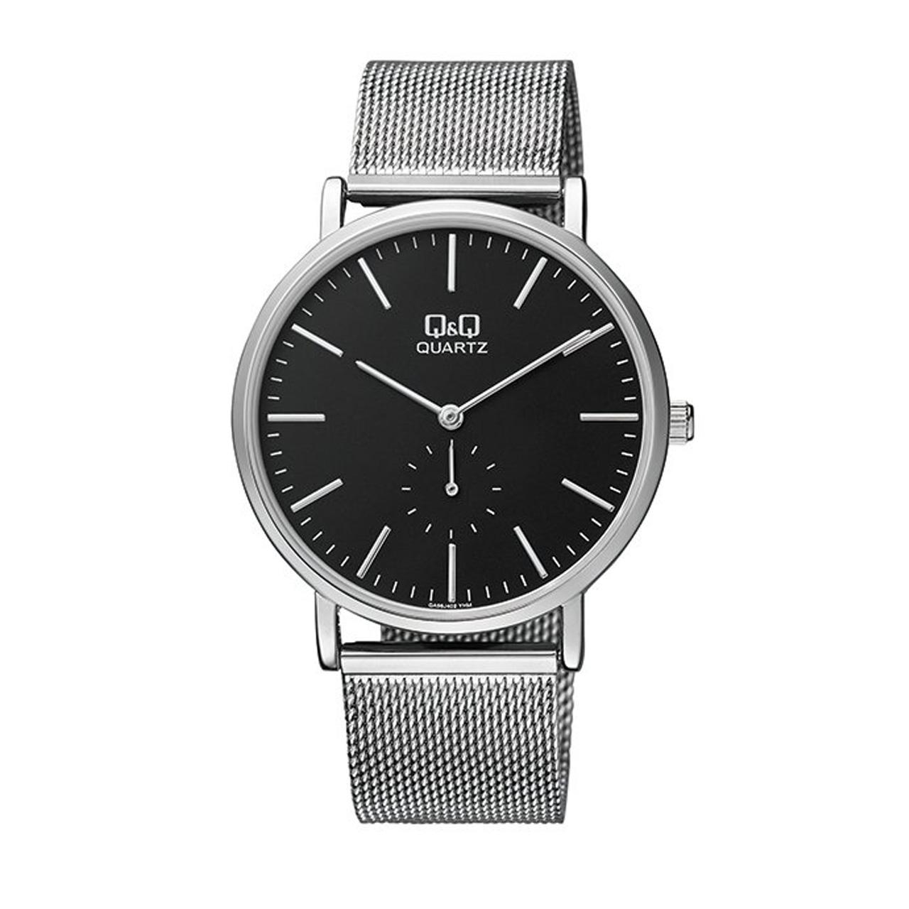 ساعت مچی عقربه ای مردانه کیو اند کیو مدل qa96j222y به همراه دستمال مخصوص برند کلین واچ