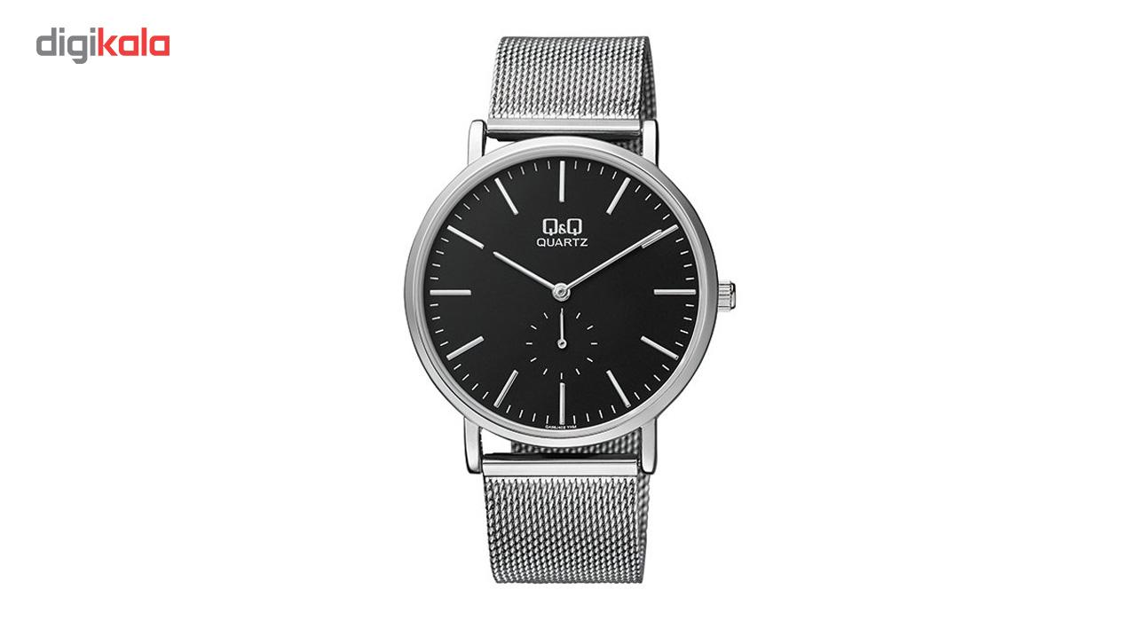 خرید ساعت مچی عقربه ای مردانه کیو اند کیو مدل qa96j222y به همراه دستمال مخصوص برند کلین واچ