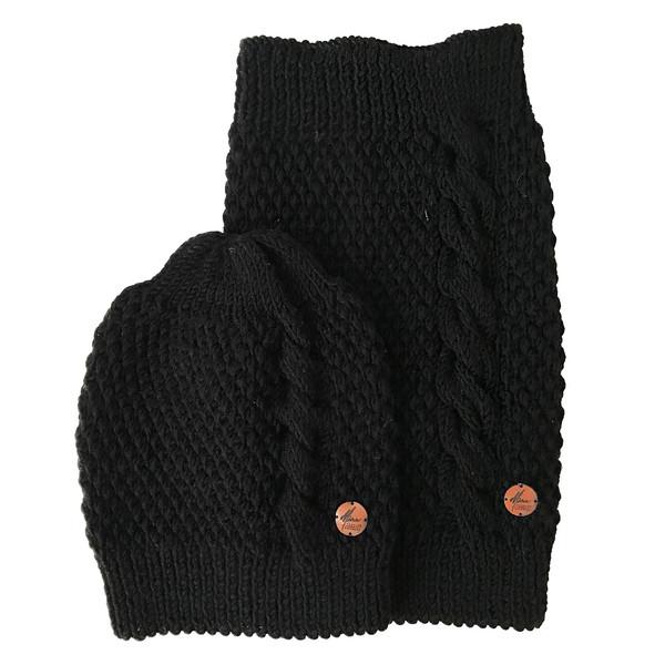 ست شال و کلاه خانه مد میرا مدل Black to Black
