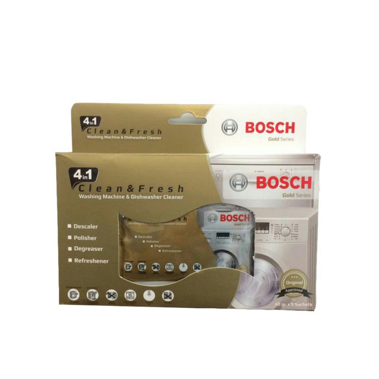 پودر جرم گیر ماشین لباسشویی و ظرفشویی بوش Bosch مدل GOLD بسته 5 عددی