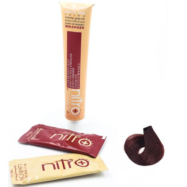 رنگ مو نیترو سری Keratine شماره 6.55 رنگ بلوند ماهاگونی تیره