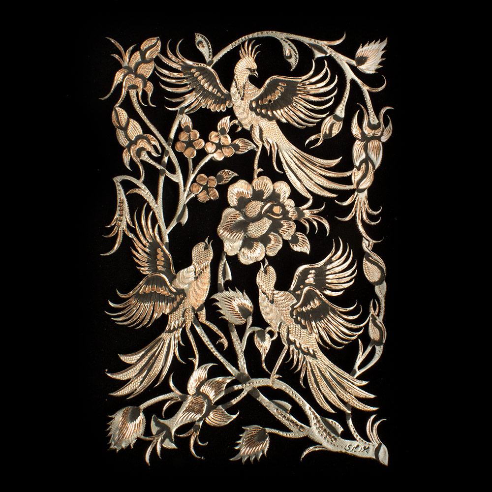 خرید                       تابلو قلمزنی طرح گل و مرغ کد 1824-2