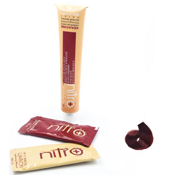 رنگ مو نیترو سری Keratine شماره 6.64 رنگ بلوند مسی قرمز تیره
