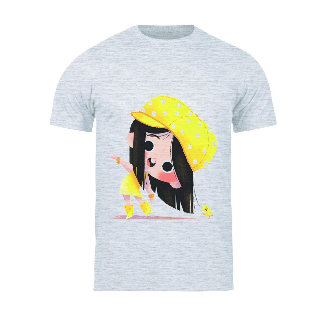 تیشرت آستین کوتاه دخترانه طرح دخترک کد 138 TM