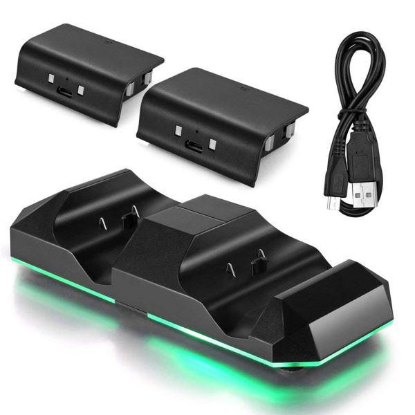 پایه شارژ دسته بازی ایکس باکس دابی مدل Dual Charging Dock به همراه 2 عدد باتری