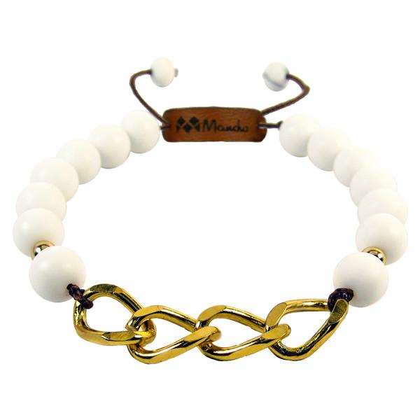 دستبند مانچو طرح پلاک زنجیر مدل bf629n