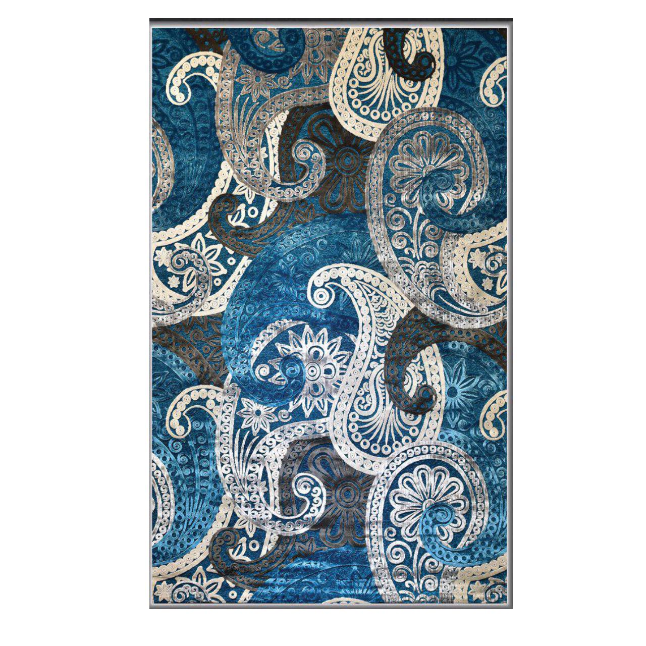 فرش ماشینی طرح شنل کد 365زمینه آبی