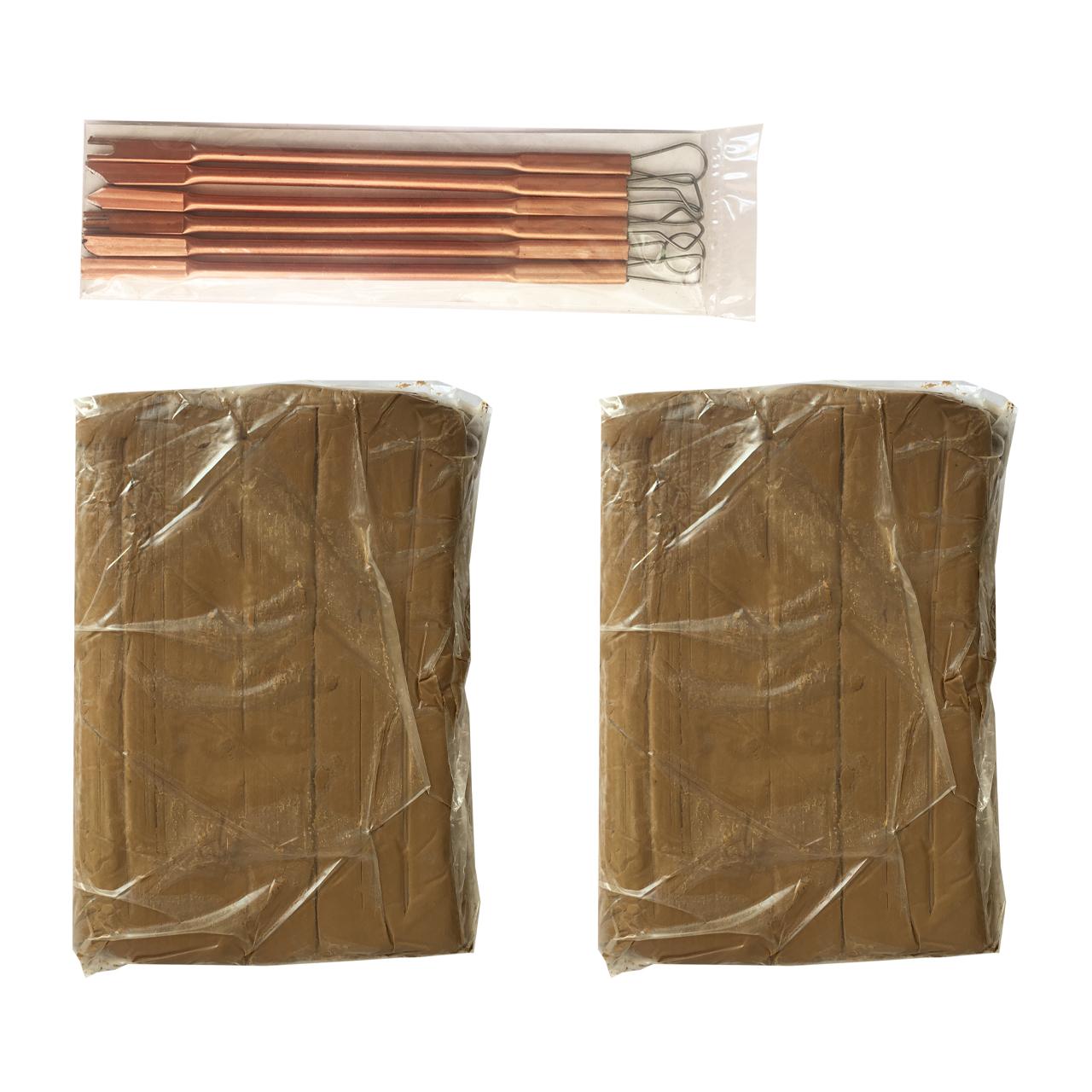 خرید                     گل سفالگری گالری نفیس بسته 2 عددی همراه با ابزار سفالگری فلزی