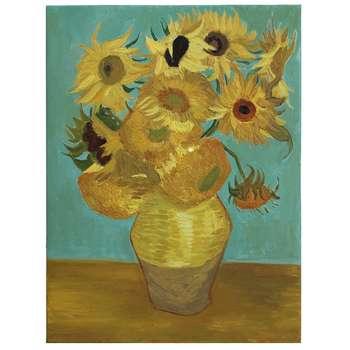 تابلو نقاشی رنگ روغن طرح گل های آفتابگردان اثر وینسنت ونگوگ