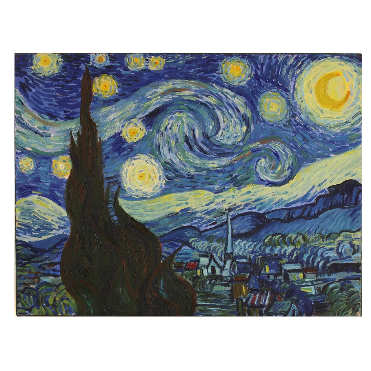 تابلو نقاشی رنگ روغن طرح شب پر ستاره