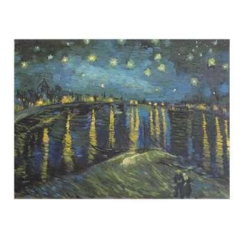تابلو نقاشی رنگ روغن طرح شب پر ستاره رودخانهی رونی
