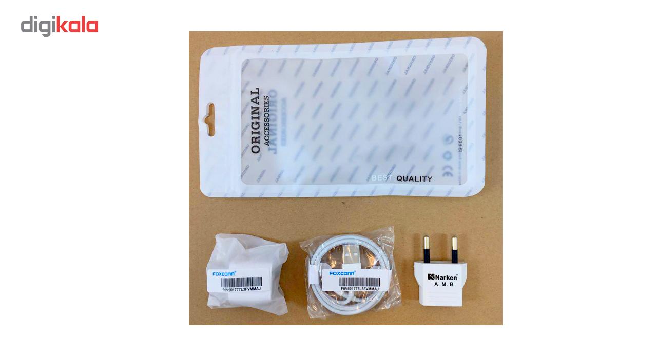 کابل تبدیل USB به لایتنینگ فاکسکان همراه با شارژر دیواری فاکسکان و مبدل برق نارکن مدل NK 605k5 main 1 1